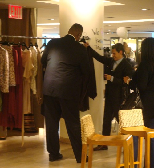 Ruben Toldeo showing off Isabel's designs to Andre Leon Talley