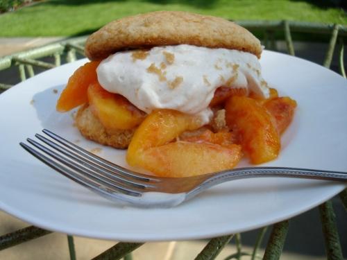 Shortcakes with Brown Sugar Peaches & Cinnamon Cream