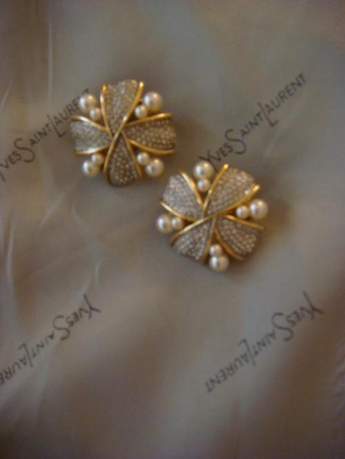 Pappy's earrings & YSL vest